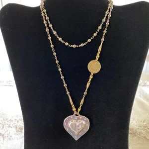 Handcrafted Silver & Brass Heart  & Coin Necklace